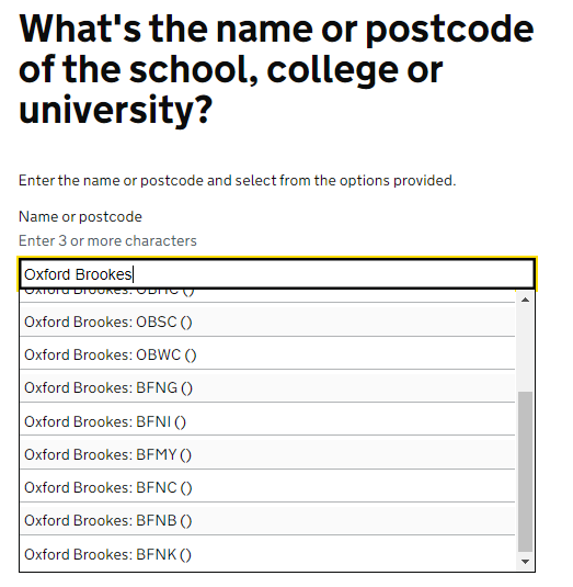 In the NHS Test and Trace web portal, enter Oxford Brookes and select the site code.