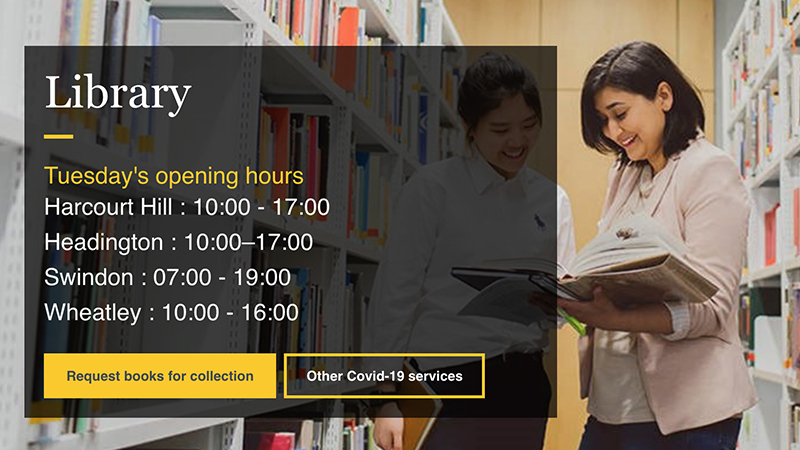 Library home page showing opening times