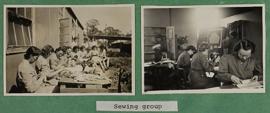 Two black and white photographs of students in a sewing class.