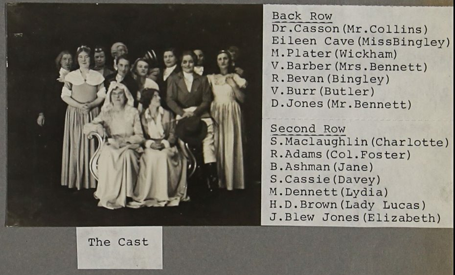 Scrapbook page with a cast list and black and white photograph of the cast of Pride and Prejudice