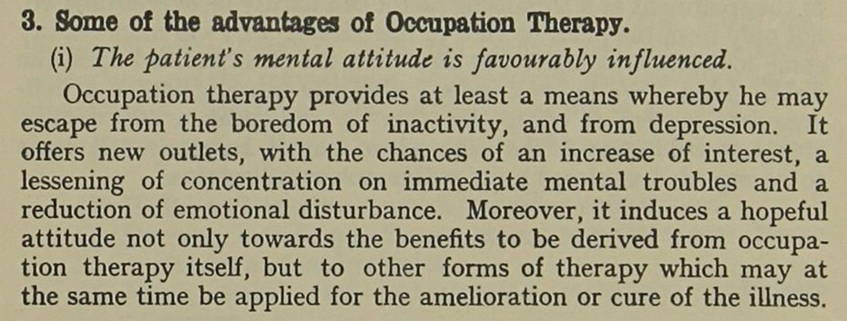 Extract of text on the advantages of Occupational Therapy