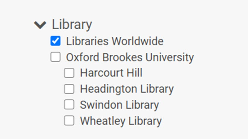 Screenshot of the 'Libraries worldwide' filter on LibrarySearch