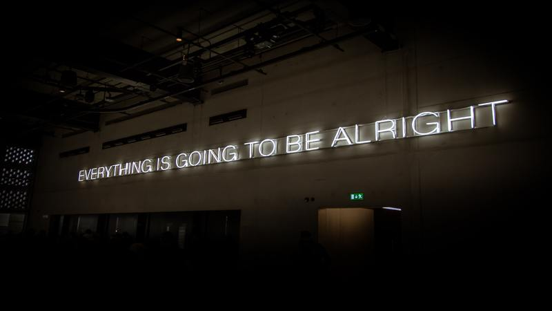 Neon sign saying everything is going to be alright
