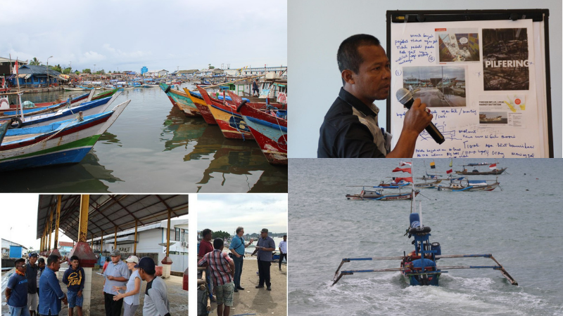 Collage of workshop photos in Indonesia with locals and our researchers