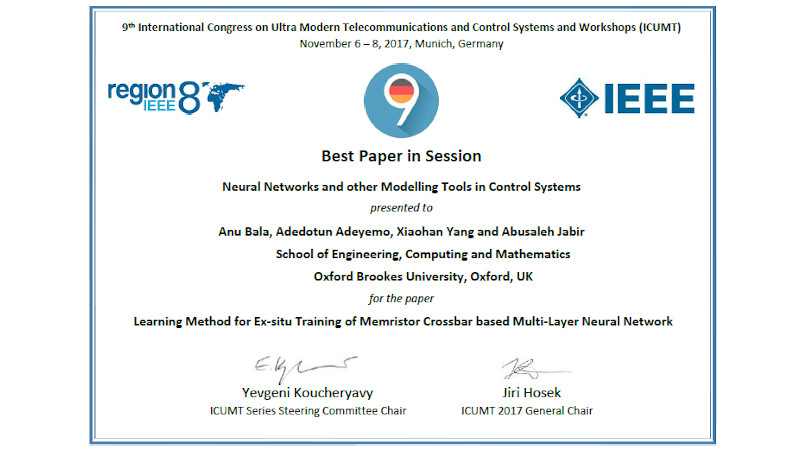 Best Research Paper Award certificate