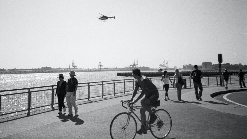 multiple modes of transport (walking, cycling, helicopter and boat)